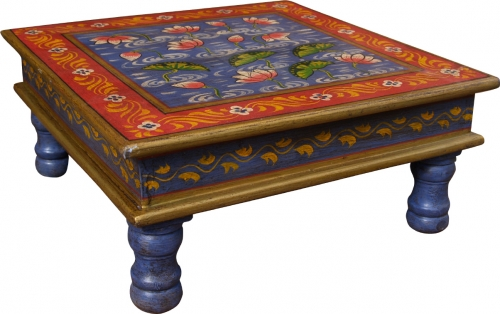 Painted small table, mini table, flower bench - water lily blue/red/yellow - 16x38x38 cm