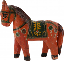 Deco horse, painted in antique look - orange