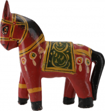 Deco horse, painted in antique look - red