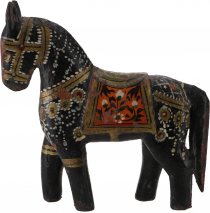 Deco horse, painted in antique look - black