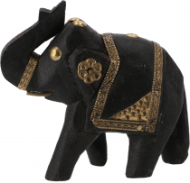 Decorative elephant carved with brass ornaments - 8cm