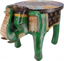 Vintage stool, elephant shaped flower bench - green
