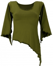 Psytrance Elf Shirt Goa chic with flared sleeves - olive