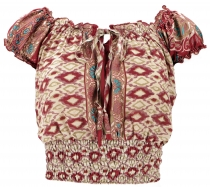 Blusentop Boho chic, Hippie Bluse - ikat rot