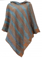 Poncho with hood, Goa Hippie, Boho Poncho - light blue/caramel