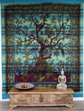 Wall hanging, bedspread Tree of life - turquoise