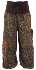Wide pluderhose with wide waistband and mandala embroidery - choc..