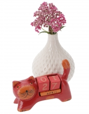 Wooden Calendar - Cat red