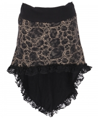 Boho mini skirt, super short hip flatterer - coffee