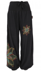 Wide harem pants with wide waistband and flower embroidery - blac..