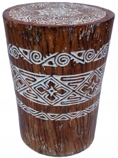 Decorated stool from coconut wood trunk