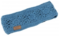 Woollen knitted browband with pretty crochet pattern, crocheted e..