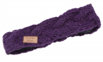 Woven wool-knit headband, knitted ear warmer - purple