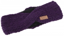 Crossed wool knitted headband, knitted ear warmer - purple