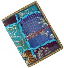 Indian notebook, diary with patchwork binding - blue