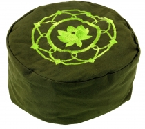 Embroidered meditation pillow with spelt filling - Lotus Mandala ..