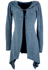 Long cardigan, knitted coat with wide hood - pigeon blue