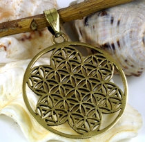 Amulet `Flower of Life`, chain pendant made of brass