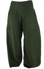 Weite Cord Pluderhose - olive