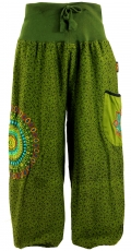 Wide Pluderhose with wide waistband and mandala embroidery - oliv..