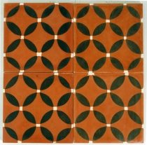 Cement tiles set, Ornament of 4 tiles, brown - Design 7