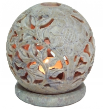 Indian scent potpourri soapstone container, tealight - ball flowe..