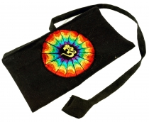 Goa tobacco bag, rotating bag, tobacco bag Om - black/rainbow