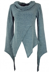 Pixishirt with shawl collar cotton knit sweater - dove blue