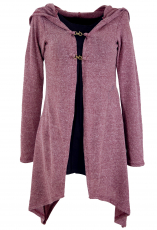 Long cardigan, knitted coat with wide hood - old pink