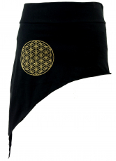 Pixi Tip Skirt with golden `Flower of Life` Mandala - black