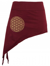 Pixi Tip Skirt with golden `Flower of Life` Mandala - bordeaux