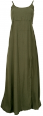 Summer dress, Boho Maxi dress with slit - olive green