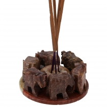 Soapstone Incense Holder - Elephants Circle 3
