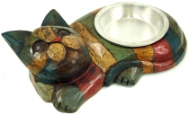 Cat food bowl `Happy Cat` - colourful stripes