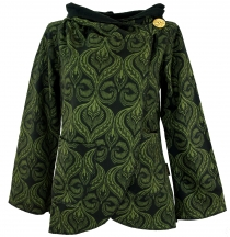 Cape Boho wrap jacket - black/green