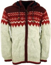 Wool jacket with nordic pattern, cardigan - red