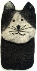felt mobile phone pocket cat