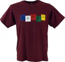 Tibet Buddhist Art T-Shirt - prayer flag/wine red