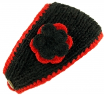 Woollen-knit headband with flower - black