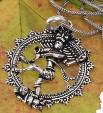 Amulet with chain `dancing Shiva in the fire wreath` silver triba..