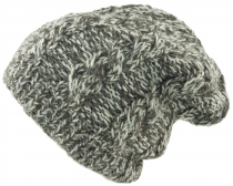 Beanie cap, knitted cap with cable pattern - mottled