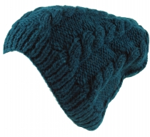 Beanie cap, knitted cap with cable pattern - petrol