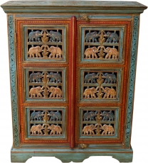 Painted elephant cabinet, side cabinet, chest of drawers with car..