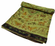 Embroidered Indian bedspread, embroidered wall cloth - lemon