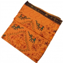 Embroidered indian bedspread, embroidered shawl - orange