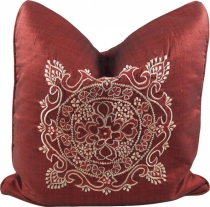 Embroidered cushion cover, pillow case - Mandala Bali red