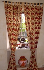 Curtain, curtain (1 pair of curtains, curtains) with loops, hand-..