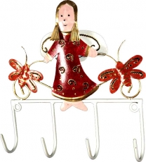 Hook strip with figures, Ethno coat hook, Metal coat hook - Angel