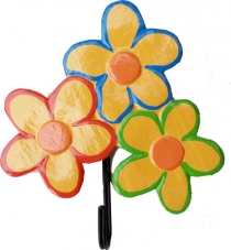 Colorful wooden coat hook, wall hook, coat hook - 3 flowers