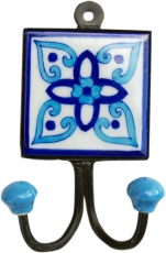 Double wall hook, coat hook with handmade ceramic tile - model 1
